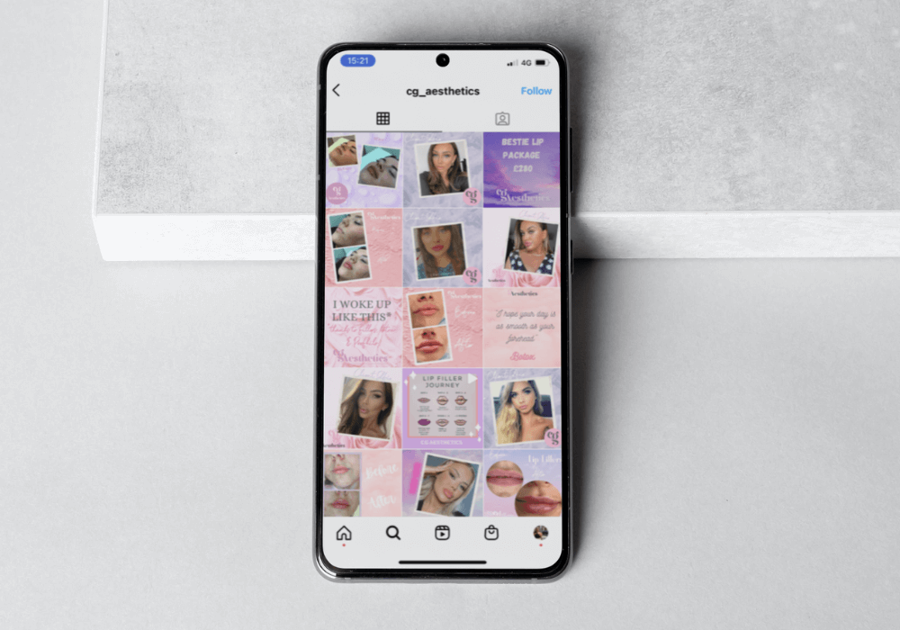 Social media templates shown on iPhone